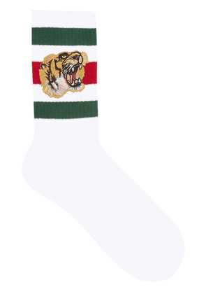 Gucci Stretch cotton socks with tiger - White