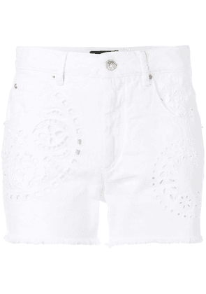 Isabel Marant open embroidery lace shorts - White