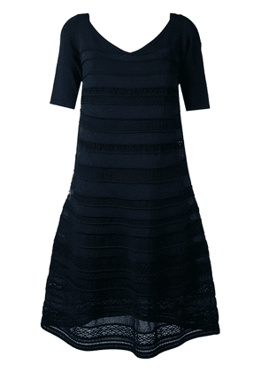 D.Exterior embroidered flared dress - Blue