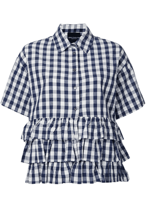Erika Cavallini checked ruffled shirt - Blue