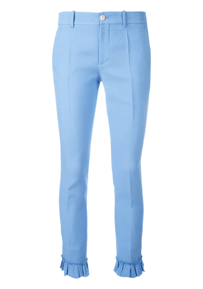 Gucci ruffle detail slim fit trousers - Blue
