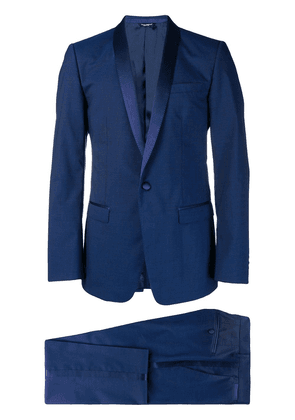 Dolce & Gabbana silk trimmed suit - Blue
