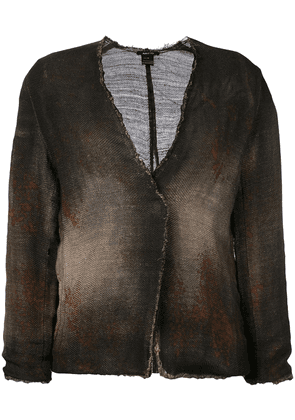 Avant Toi cross body overdyed knitted jacket - Brown