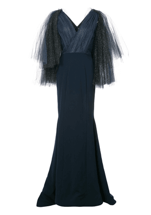 Christian Siriano embellished tulle sleeve gown - Black