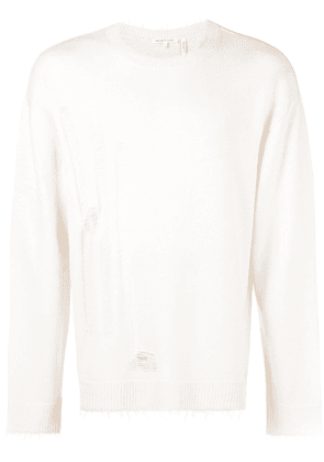 Helmut Lang distressed fitted sweater - Neutrals