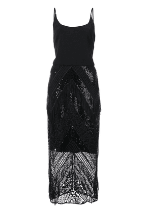 Christian Siriano sequin lace fitted dress - Black