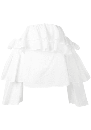 Erika Cavallini off-shoulder ruffled blouse - White