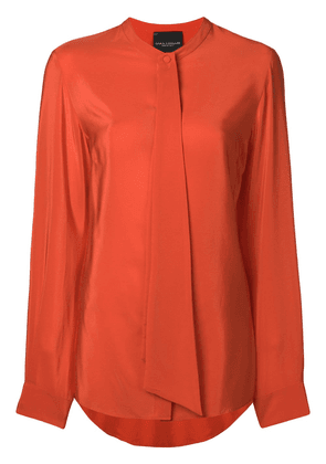Erika Cavallini draped detail collarless blouse - Yellow
