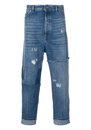 Diesel Black Gold cropped dropped crotch jeans - Blue