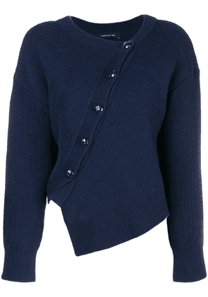 Cédric Charlier asymmetric button sweater - Blue