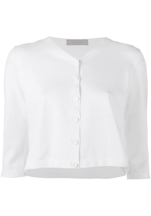 D.Exterior cropped cardigan - White