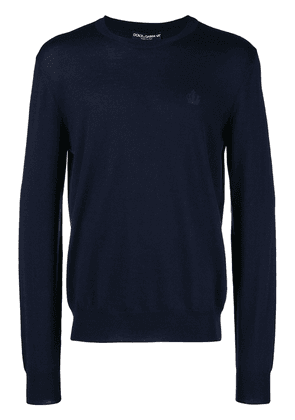 Dolce & Gabbana crown embroidered sweater - Blue
