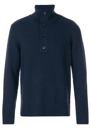 Closed buttoned high neck jumper - Blue