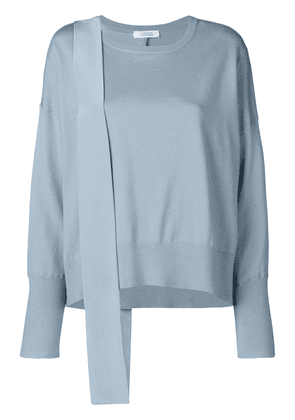 Dorothee Schumacher mixed fabric paneled knit top - Blue