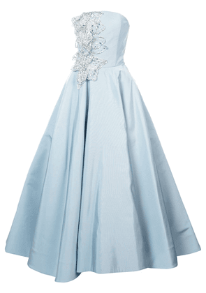 Christian Siriano embellished bustier flared gown - Blue