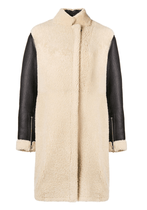 3.1 Phillip Lim contrast-sleeve shearling coat - White