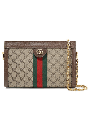 87a5753c3f6d Gucci - Ophidia Textured Leather-trimmed Printed Coated-canvas Shoulder Bag  - Beige