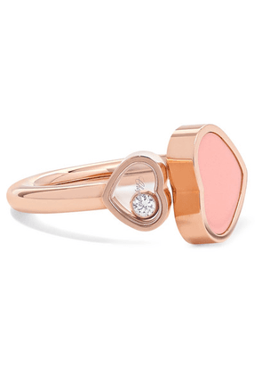 Chopard - Happy Hearts 18-karat Rose Gold, Diamond And Stone Ring - 7