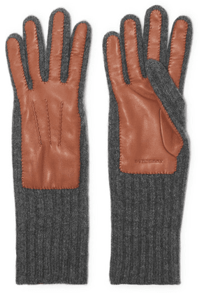 Burberry - Ribbed Cashmere And Leather Gloves - Tan