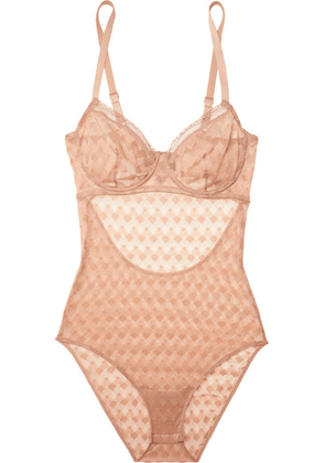 ELSE - Maze Cutout Underwired Stretch-lace Bodysuit - Sand