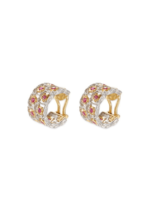 'Roselline' ruby 18k gold hoop earrings