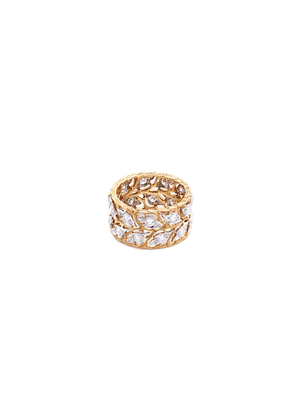'Eternelle' diamond 18k white and yellow gold leaf ring
