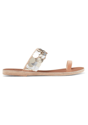 Ancient Greek Sandals - Thraki Embellished Canvas And Leather Sandals - Silver