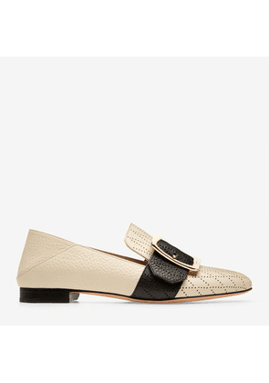 Bally Janelle White, Women's perforated calf leather slipper in bone and black