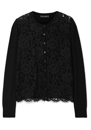 Dolce & Gabbana - Corded Lace And Wool-blend Top - Black