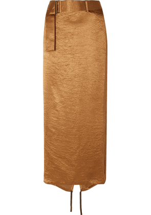 Ann Demeulemeester - Wrap-effect Belted Crinkled-satin Midi Skirt - Gold