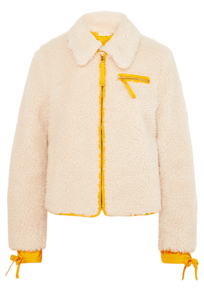 Tory Burch - Shell-trimmed Faux Shearling Jacket - Ivory