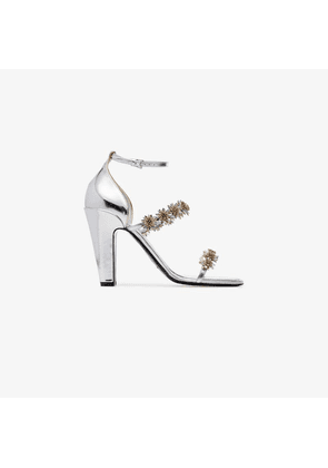Fabrizio Viti silver Daisy 100 floral embellished leather sandals