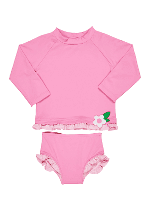 Ruffle-Trim Rash Guard w/ Matching Bottoms, Size 6-24 Months