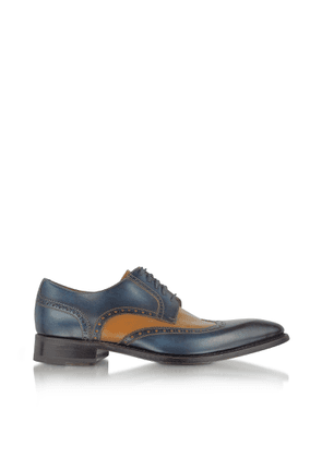 Forzieri Designer Shoes, Two-Tone Handcrafted Leather Wingtip Oxford Shoes