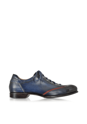Forzieri Designer Shoes, Men's Blue Handmade Italian Leather Lace-up Shoes