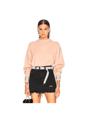 Alexander Wang Crystal Cuff Crew Neck Sweater in Pink