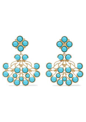 Kenneth Jay Lane Woman Gold-tone Stone Clip Earrings Turquoise Size -