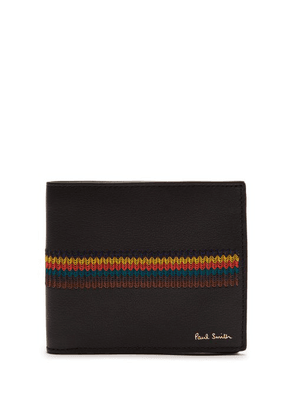 Paul Smith - Embroidered Stripe Bi Fold Leather Wallet - Mens - Black