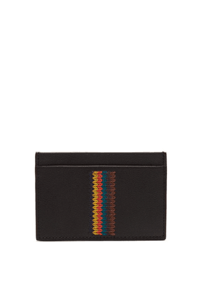 Paul Smith - Embroidered Stripe Leather Cardholder - Mens - Black