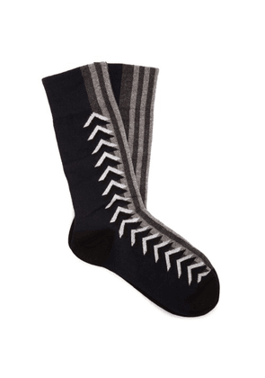 Burberry - Graphic Intarsia Cotton Blend Socks - Womens - Navy Multi
