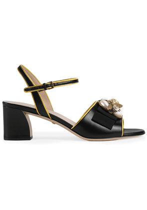 Gucci Leather mid-heel sandal with bee - Black