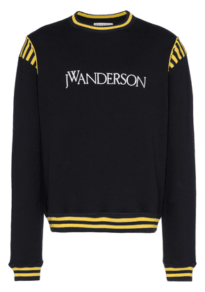 JW Anderson navy logo embroidered stripe cotton sweatshirt - Blue
