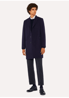 Men's Navy Wool And Cashmere-Blend Peak-Lapel Epsom Coat
