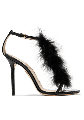 Charlotte Olympia - Provocateur Feather-trimmed Snake Sandals - Black