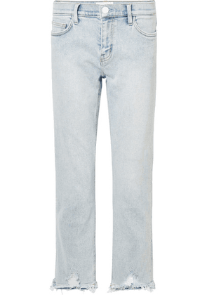 Current/Elliott - The Cropped Distressed Mid-rise Straight-leg Jeans - Light denim
