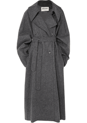 A.W.A.K.E. - Oversized Double-breasted Wool-blend Felt Coat - Charcoal
