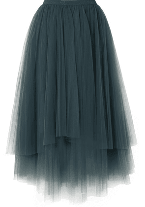 Brunello Cucinelli - Embellished Layered Tulle Midi Skirt - Petrol