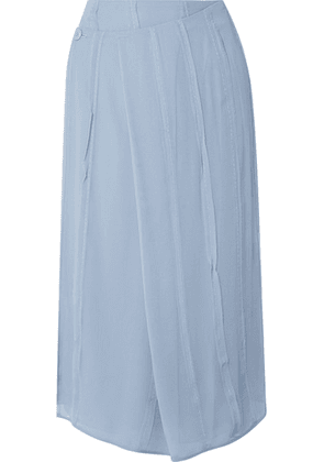 Carven - Pleated Silk-chiffon Wrap Midi Skirt - Sky blue