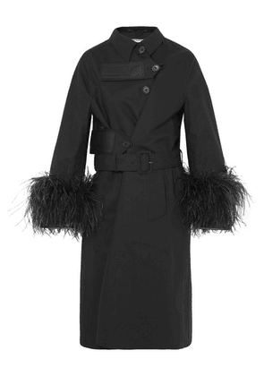 Prada - Feather-trimmed Cotton Trench Coat - Black