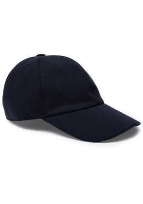 Ermenegildo Zegna - Embroidered Cashmere, Cotton And Silk-blend Baseball Cap - Navy